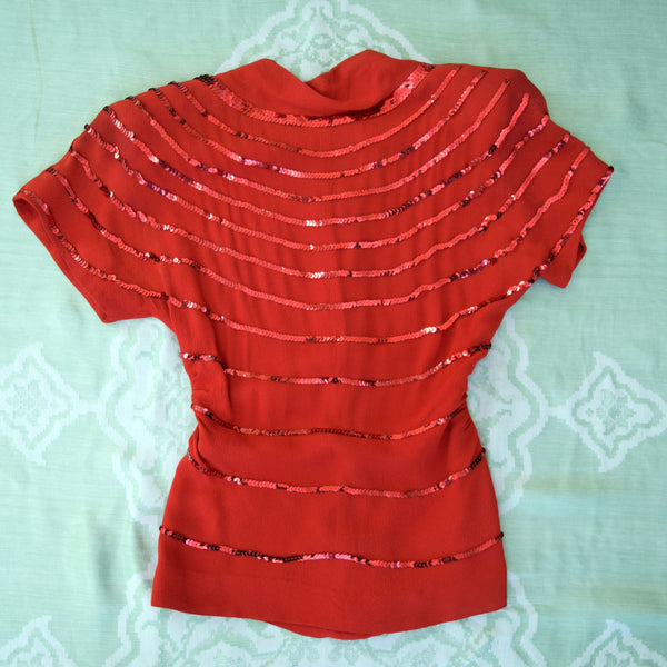 1940s Lipstick Red Sequin Blouse - Sweet Disorder Vintage