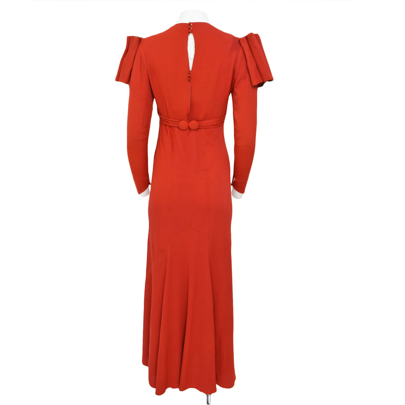 1930s Deco Crepe Maxi Dress