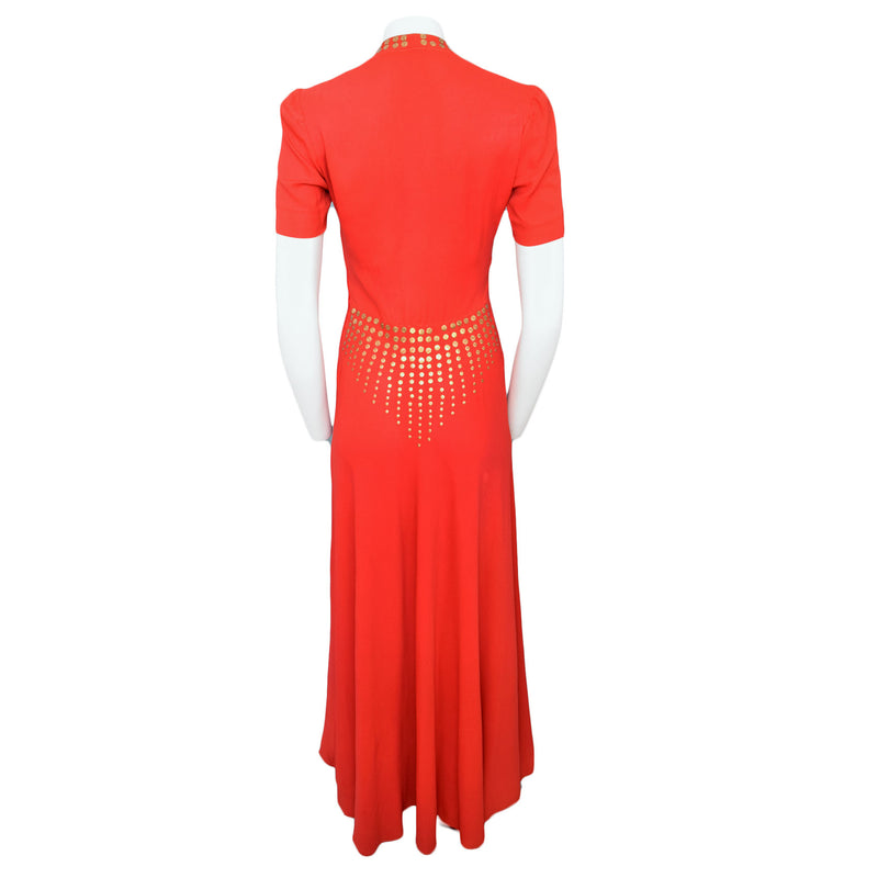 1940s Scarlet & Gold Maxi Dress