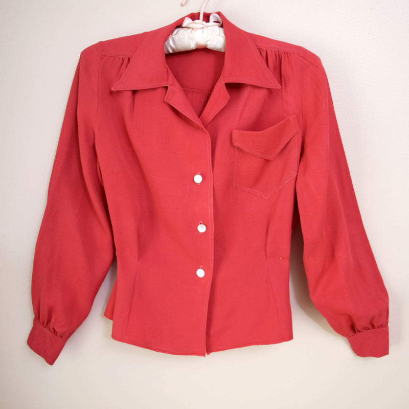 1940s Red Gabardine Blouse - Sweet Disorder Vintage