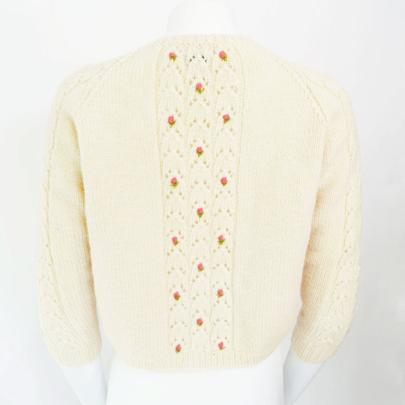 1960s Rose Embroidered Cardigan