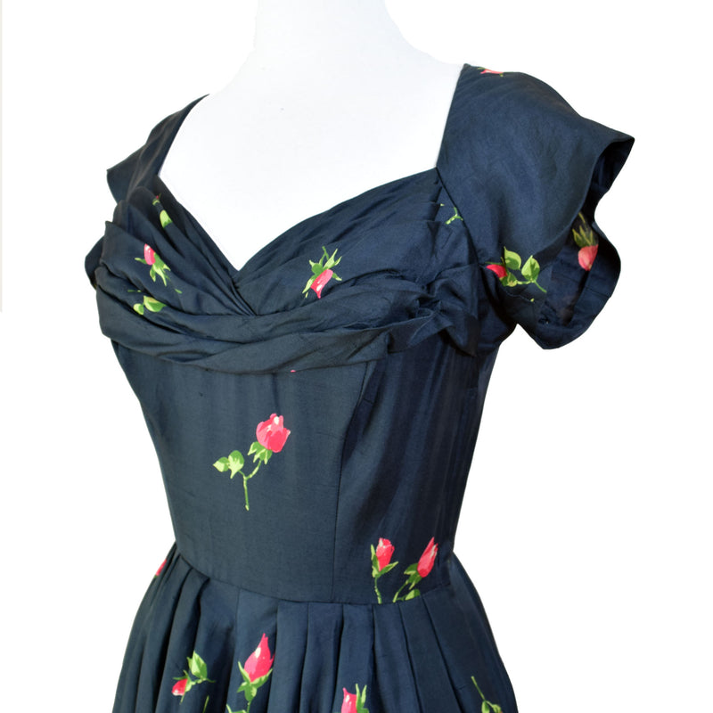 1950s Rose Print Sik Party Dress - Sweet Disorder Vintage