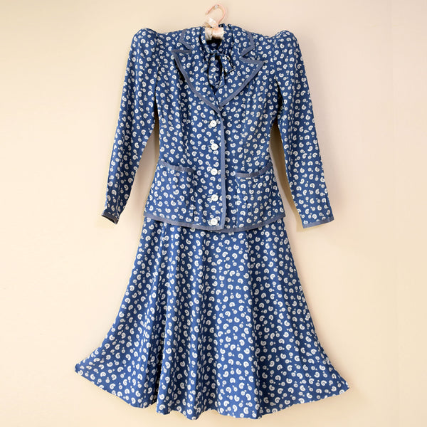 1940s Cornflower Blue Dress & Jacket Set