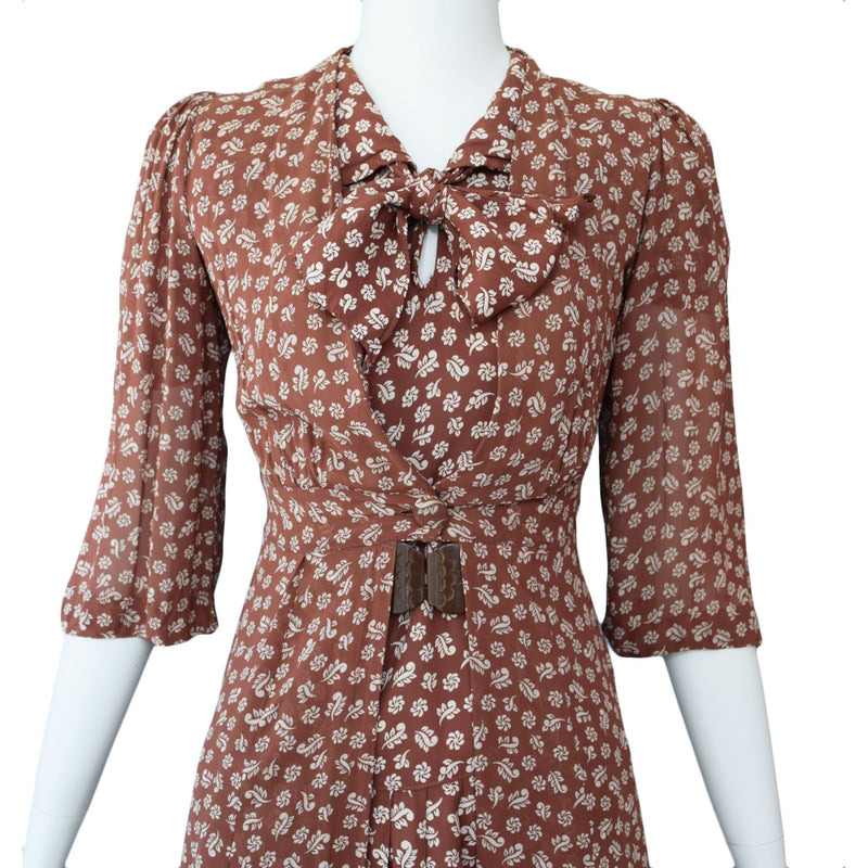 1940s Brown Rayon Print Dress & Jacket Set