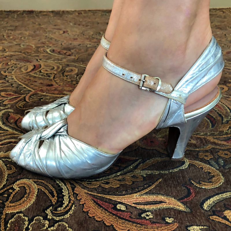 1930s Silver Leather Shoes - Sweet Disorder Vintage