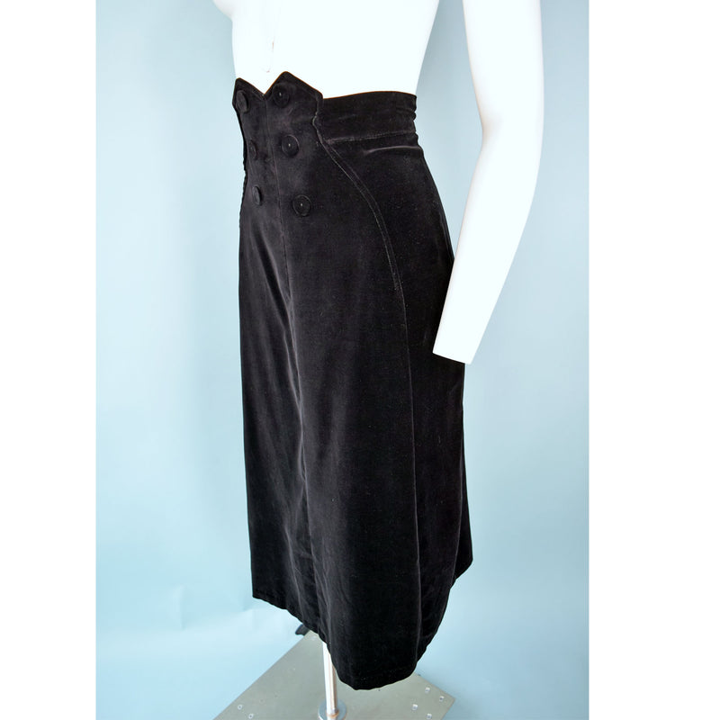 1940s Velvet High-Waisted Skirt