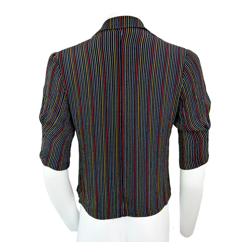 1940s Rainbow Striped Rayon Blouse