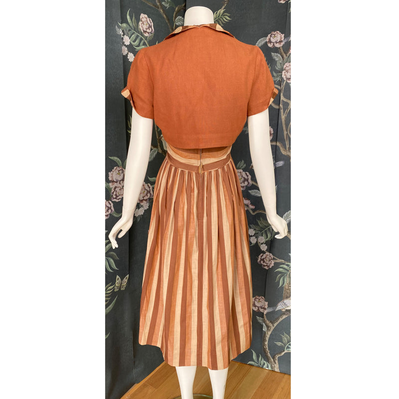 1950s Deco Striped Sundress and Bolero