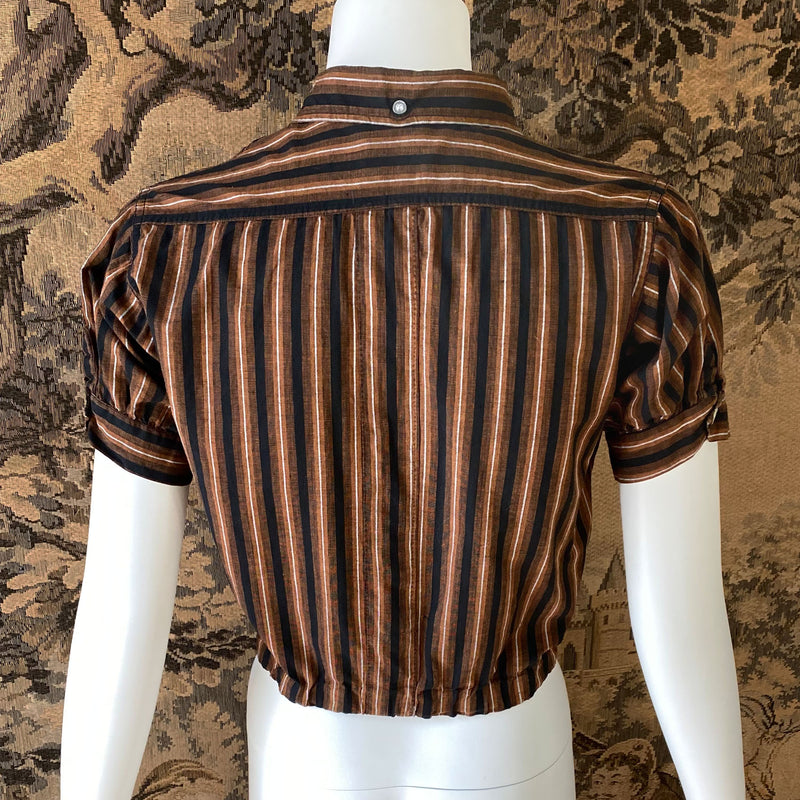 1950s Brown & Black Striped Cotton Blouse