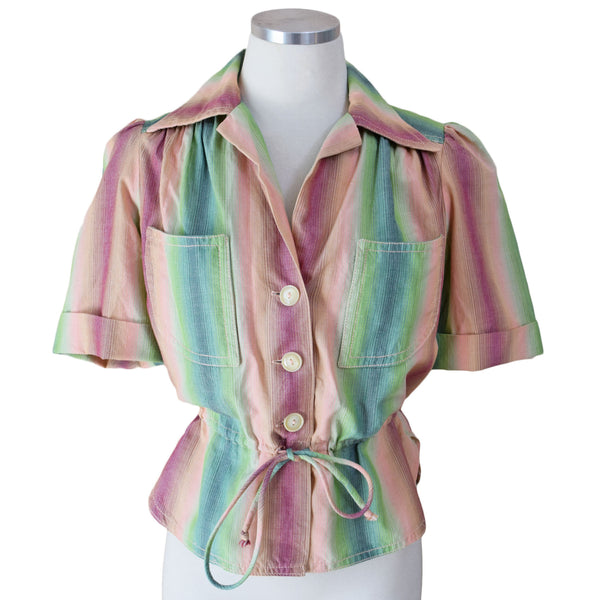 1970s Ombre Stripe Blouse - Sweet Disorder Vintage