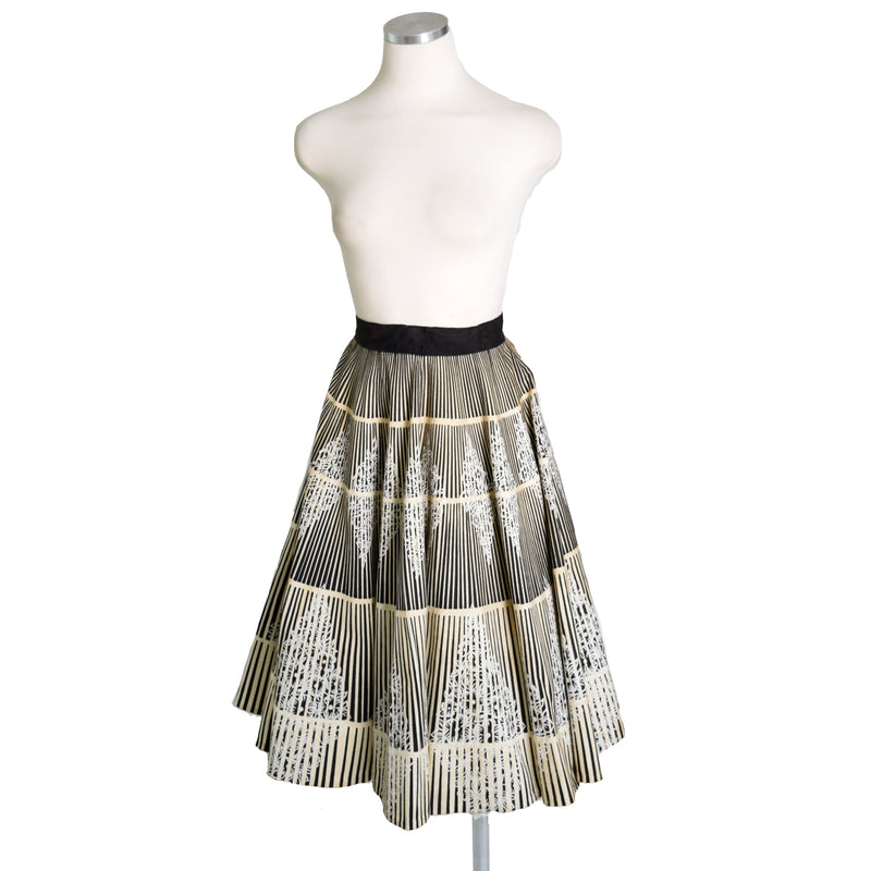 1950s Silver Abstract Print Circle Skirt - Sweet Disorder Vintage
