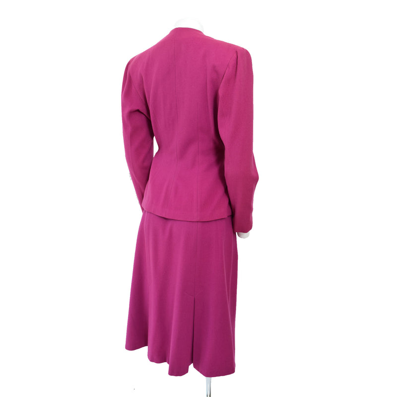 1940s Raspberry Wool Skirt Suit - Sweet Disorder Vintage