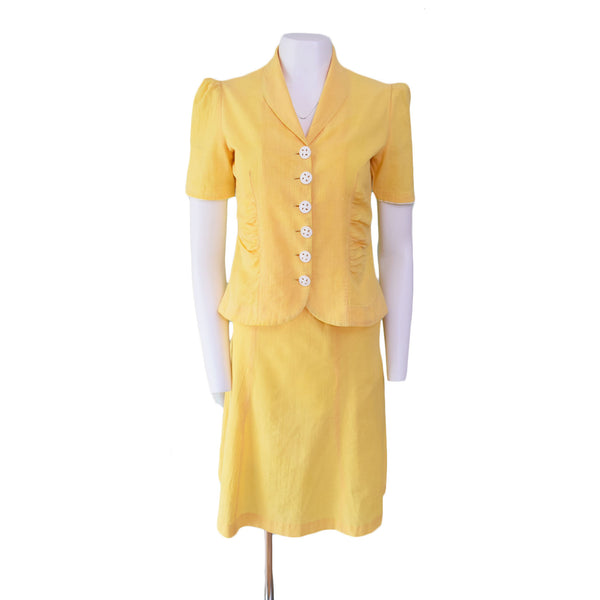 1940s Cotton Skirt Suit