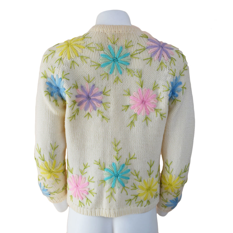 1960s Floral Embroidered Cardgan - Sweet Disorder Vintage