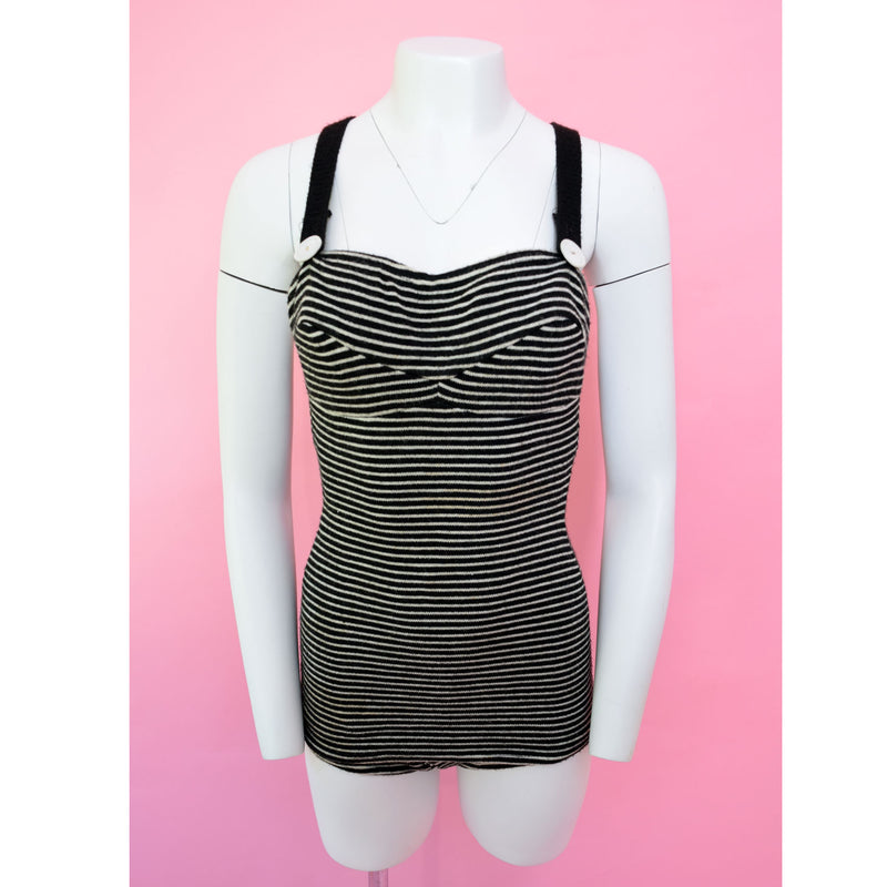 1930s Black & White Striped Swimsuit