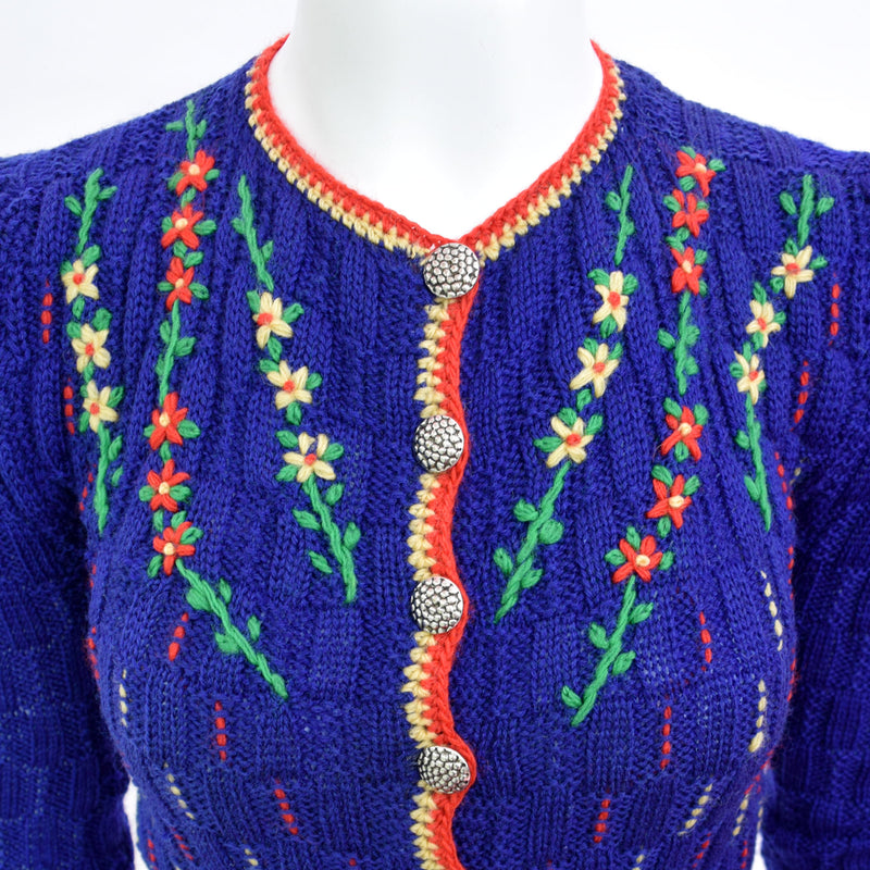 1940s Hand-Knitted Tyrolean Cardigan