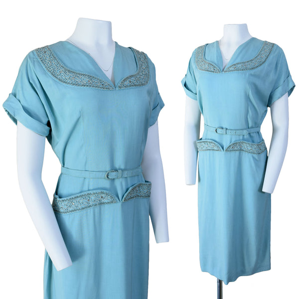 1950s Rhinestone & Soutache Trimmed Dress - Sweet Disorder Vintage