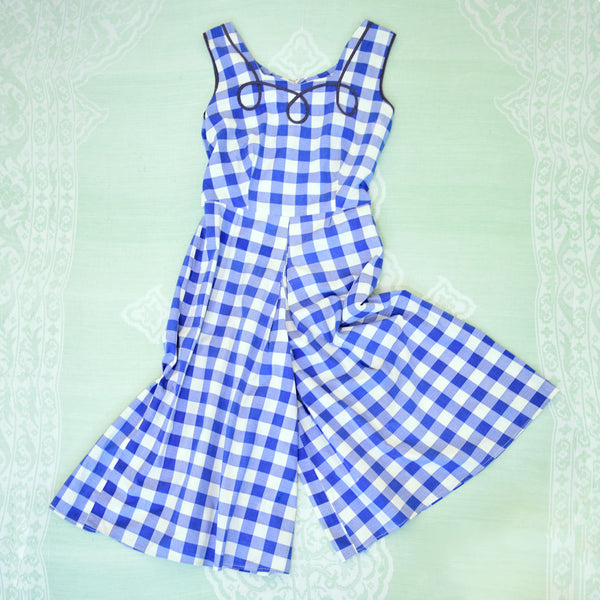 1950s Gingham Beach Pyjamas - Sweet Disorder Vintage