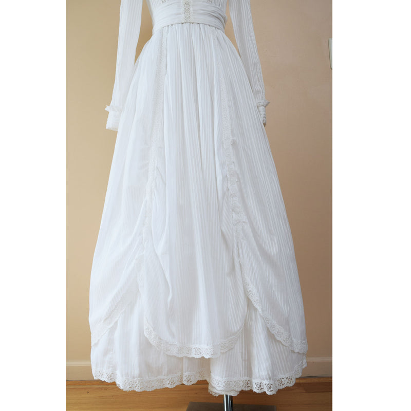 1980s Laura Ashley Victorian Revival Wedding Dress - Sweet Disorder Vintage