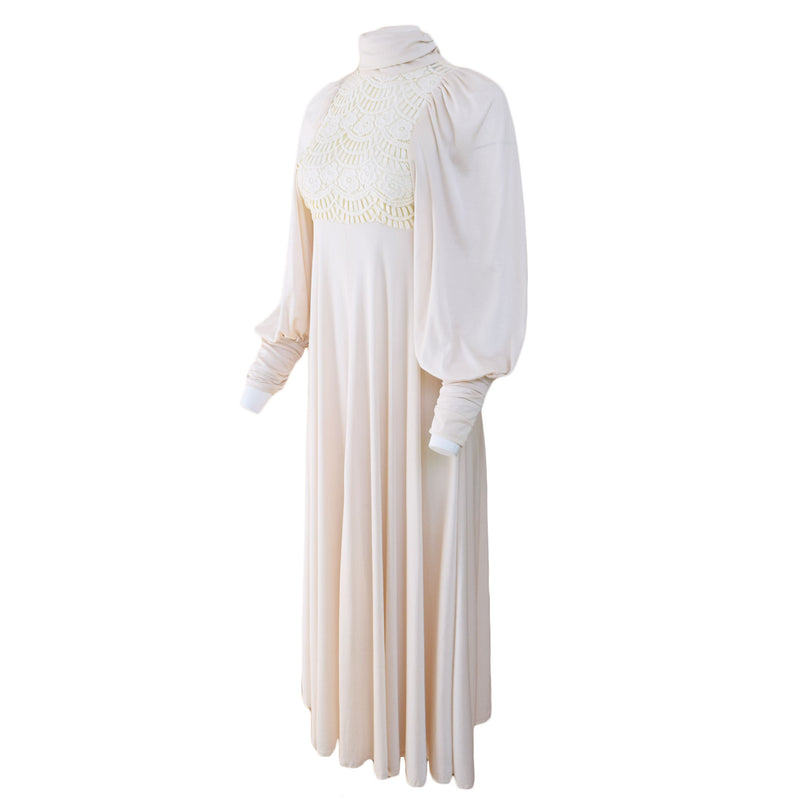 1970s Ivory Balloon Sleeve Maxi Dress - Sweet Disorder Vintage
