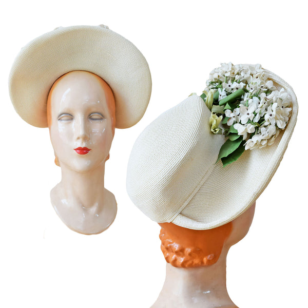 1940s White Straw Bonnet - Sweet Disorder Vintage