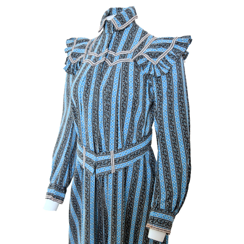 Antique Black & Blue Calico Prairie Dress - Sweet Disorder Vintage