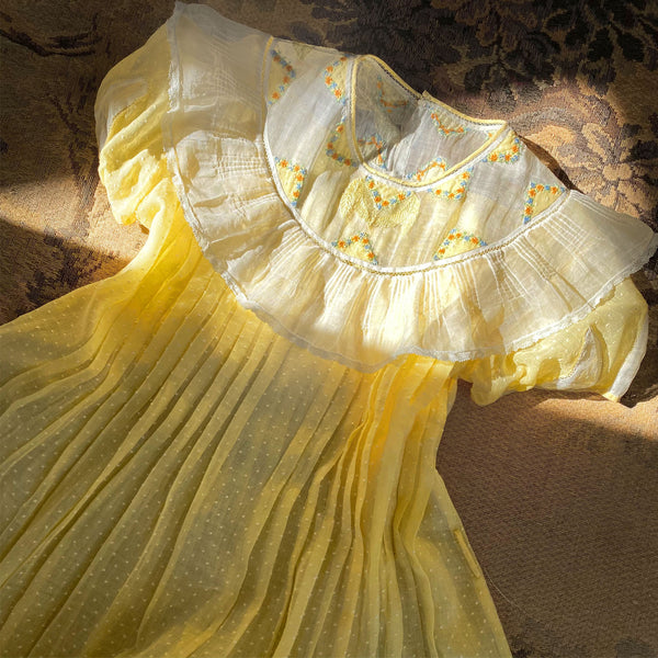 1930s Embroidered Babydoll Dress