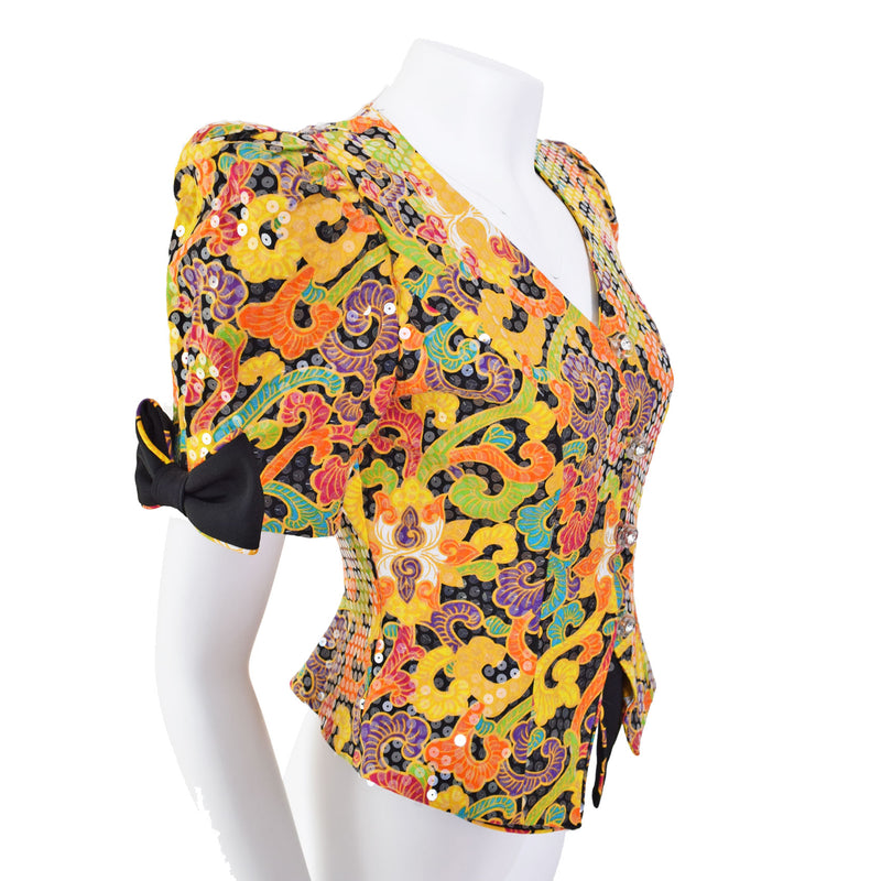 1980s Sequin Puff Sleeve Bodice