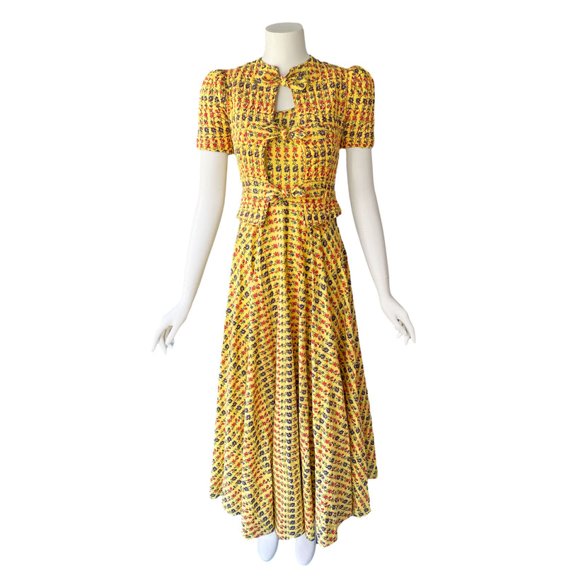 1930s Yellow Cotton Gown & Quilted Jacket Set