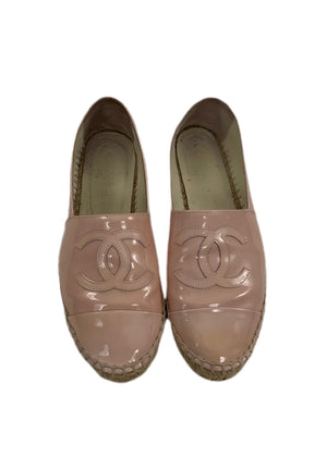 Chanel Pink Patent Leather CC Espadrilles