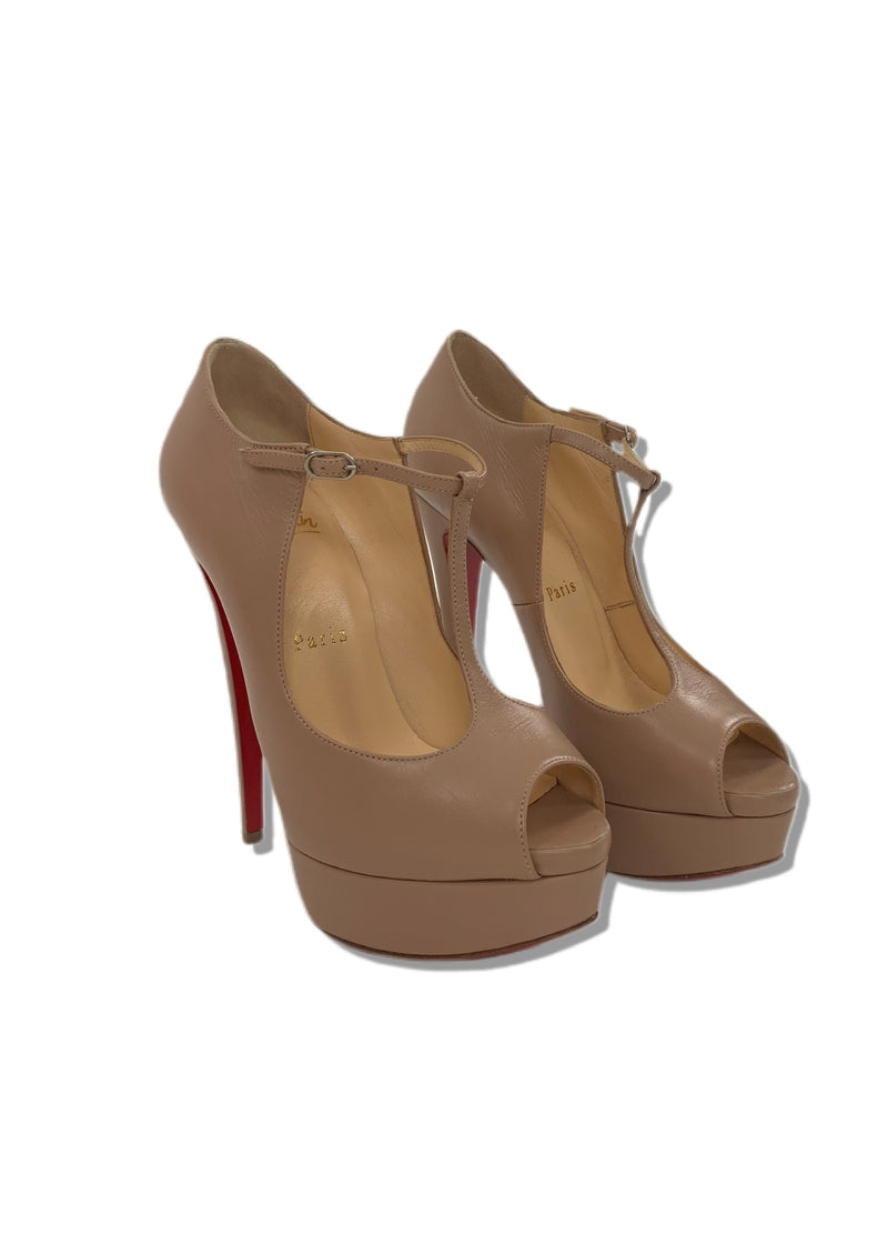 Christian Louboutin out in Amy Kid T Strap Peep Toe Platform Pumps