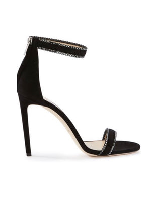 Jimmy Choo Dochas 100 Sandals Black Open Toe Sandal with Jewel Trim