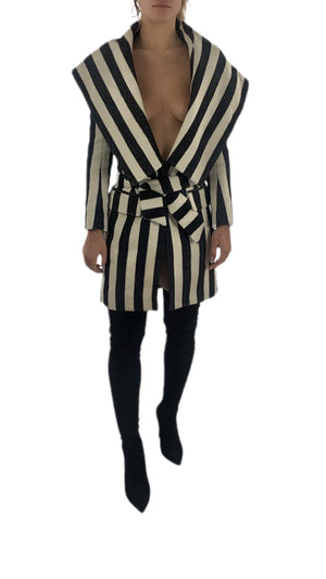 Balmain Striped Wool Coat