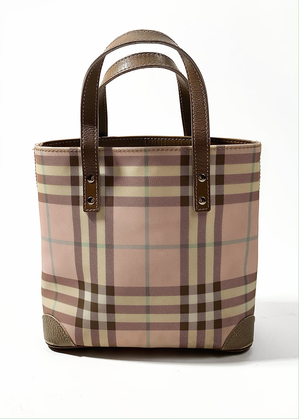 Burberry London Leather-Trimmed Nova Checked Tote