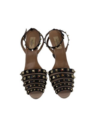 Valentino Rockstud Accents Leather Sandal Wedges