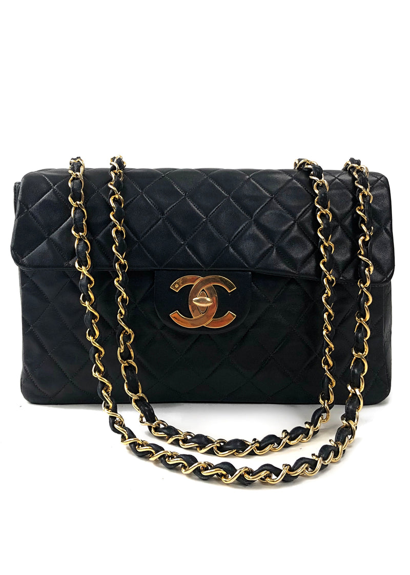Chanel Black Quilted Lambskin Jumbo XL Vintage Classic Flap Bag