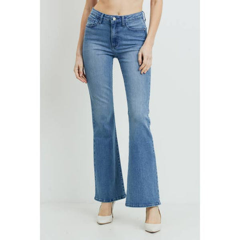 Skinny Flare Pant Medium Denim Front