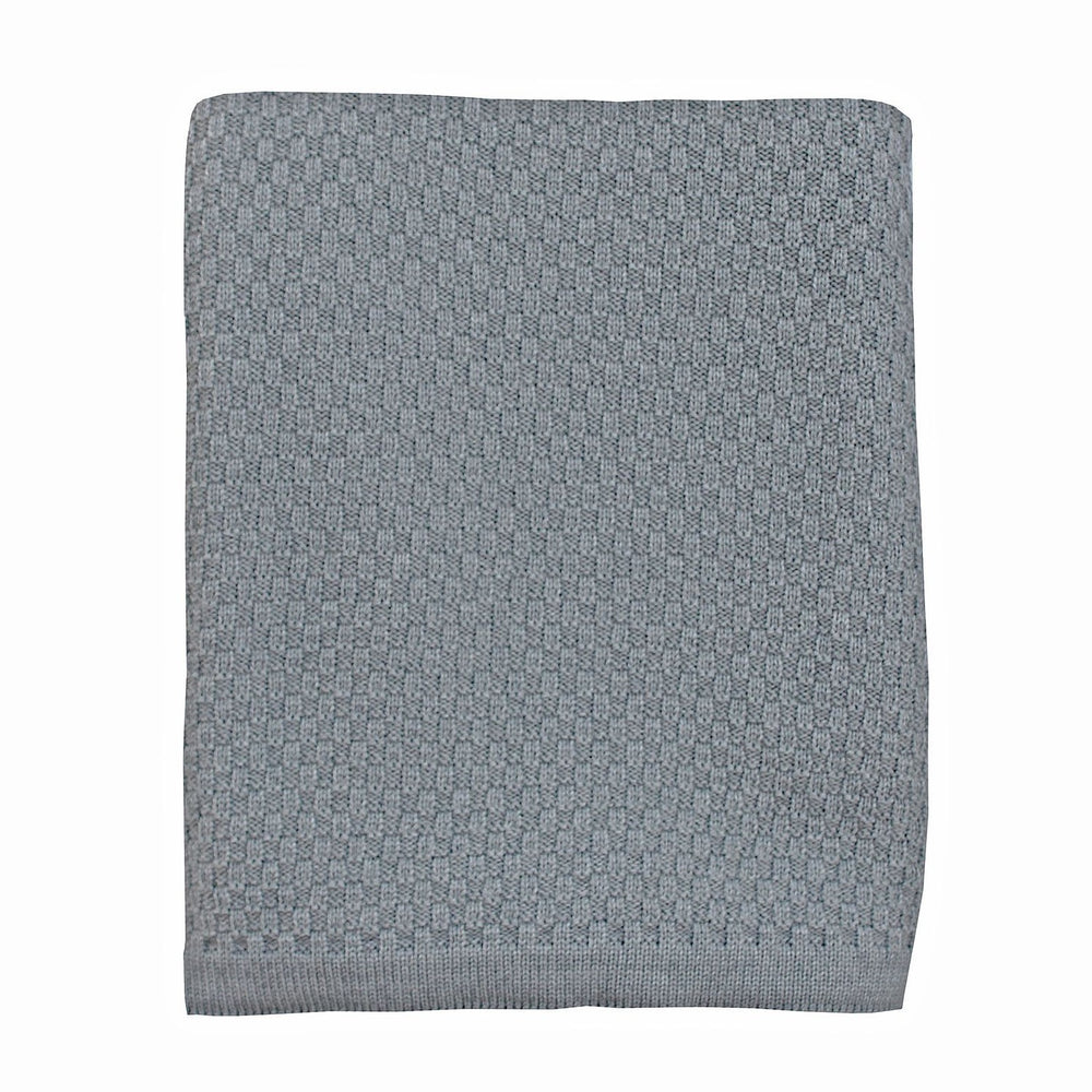 Heirloom Baby Merino Blanket Basket Weave Mid Grey