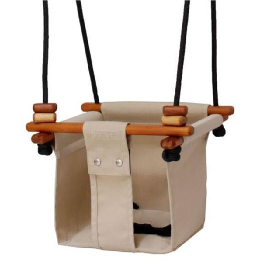 Solvej Baby and Toddler Canvas Swing, Soft Linen
