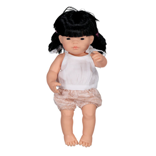 Burrow & Be Doll Clothing White Singlet 38cm