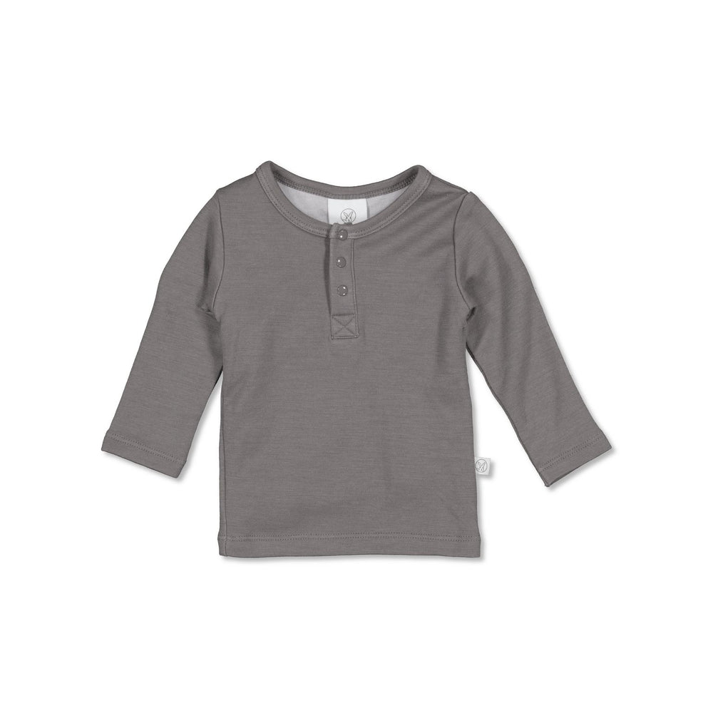 Burrow & Be Henley Merino/Bamboo Top Steel
