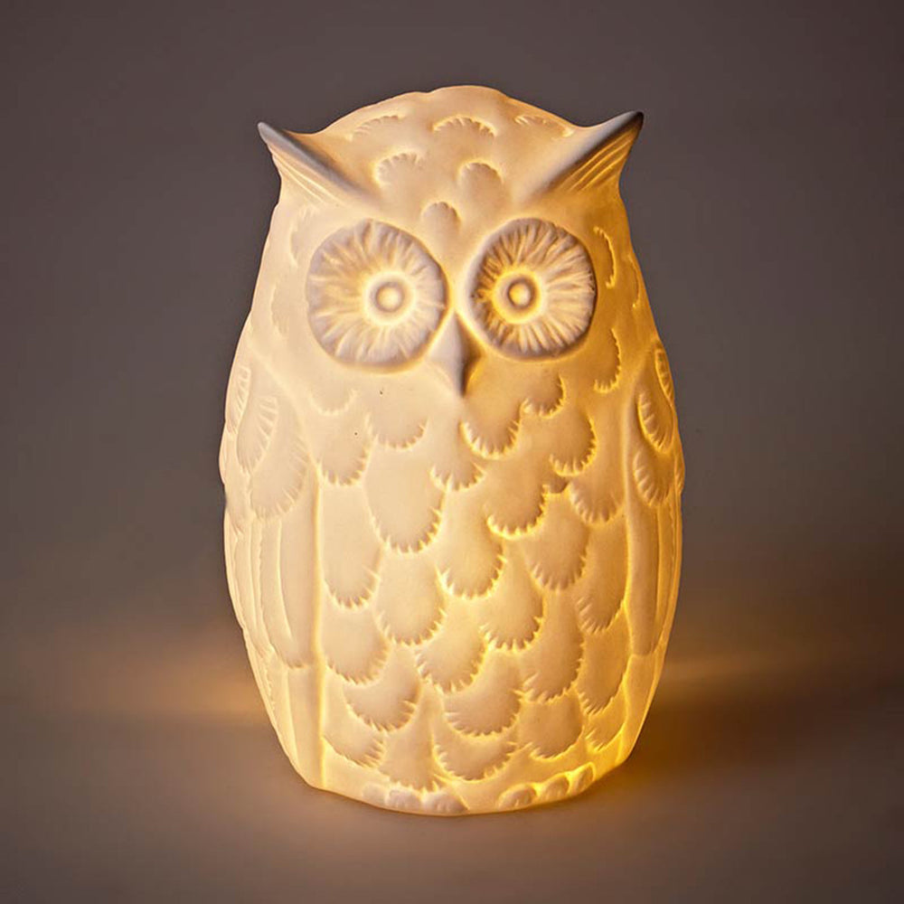 Bone China Retro Owl Lamp