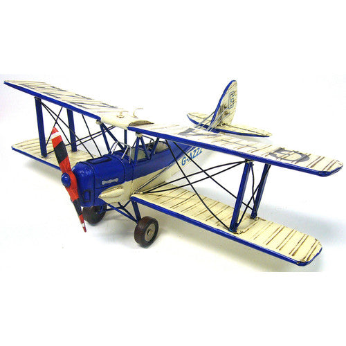 Blue & White Tiger Moth Plane