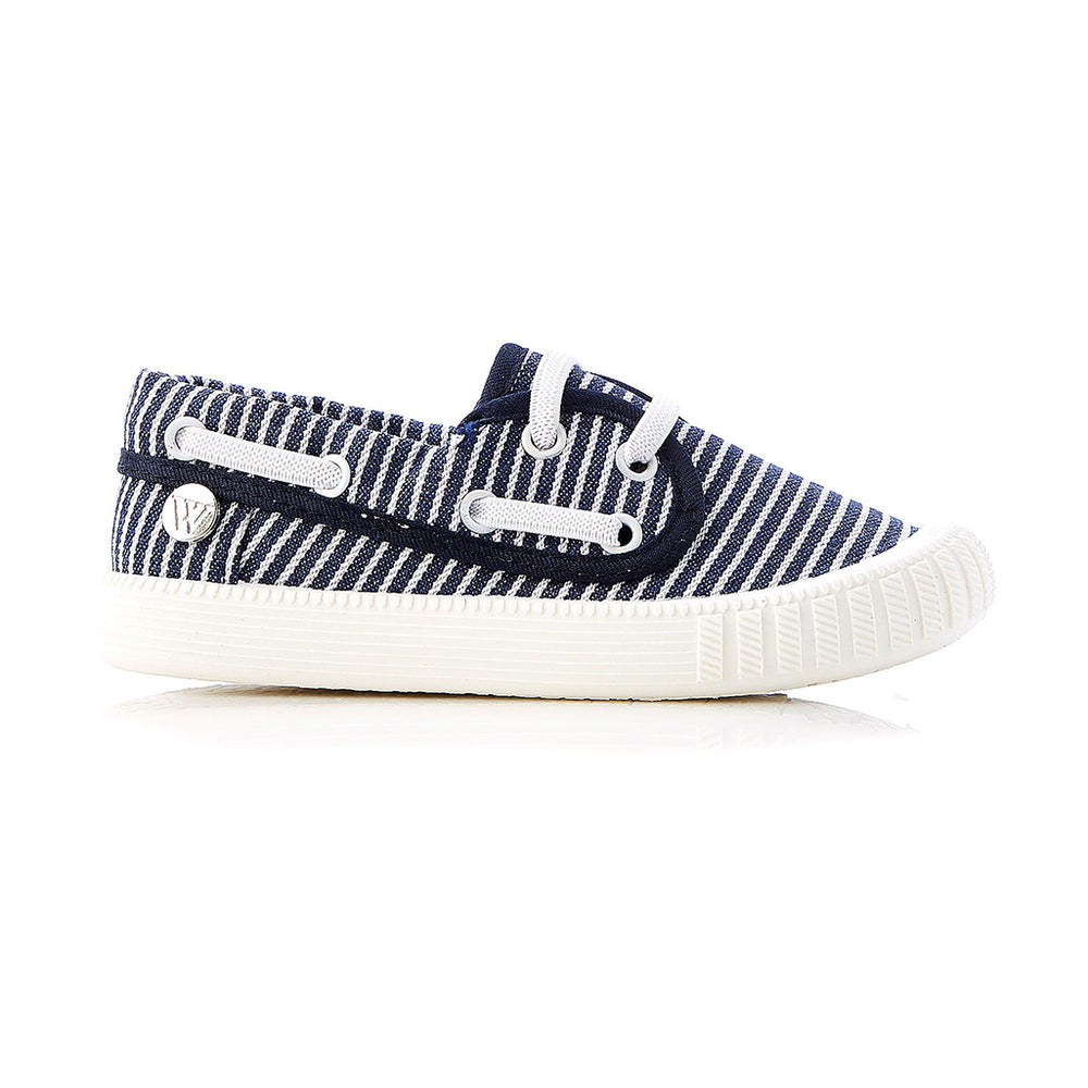 Walnut Classic Boatie Navy & White Stripe