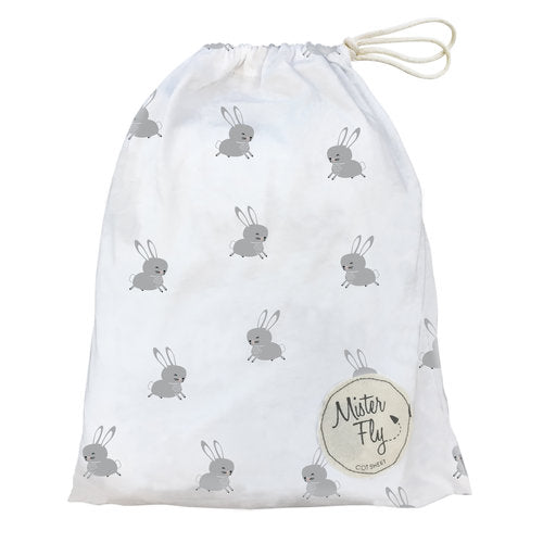 Mister Fly Cot Sheet White Floating Bunny