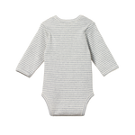 Nature Baby Long Sleeve Bodysuit Grey Marl Stripe