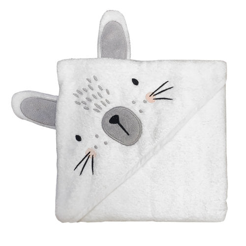 Mister Fly Hooded Towel White Bunny