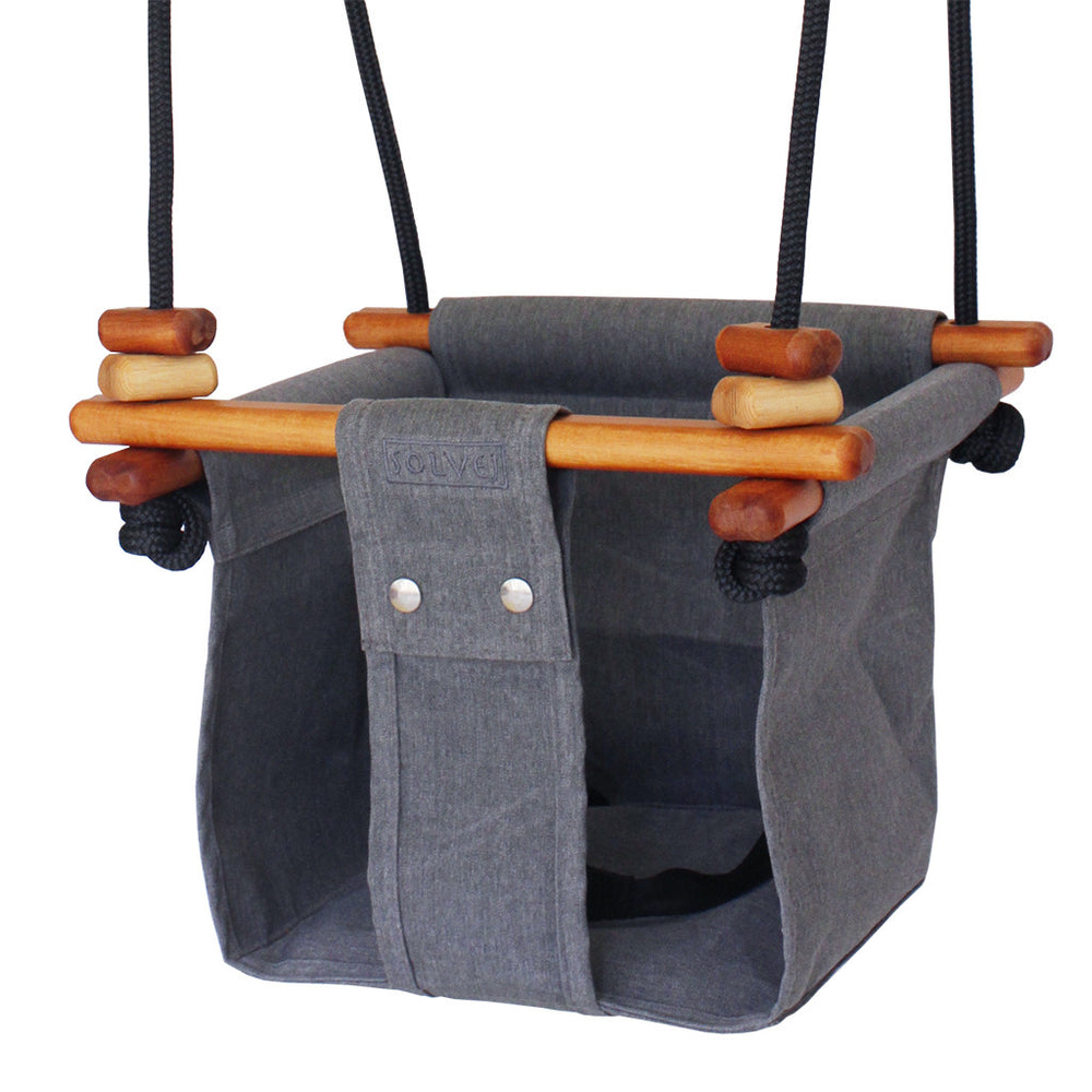 Solvej Baby and Toddler Canvas Swing, Smokey Grey