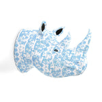 Papier Mache Rhino Head Blue and White