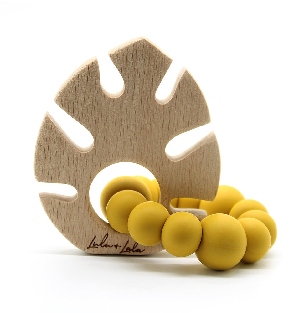 Lulu + Lala Teether Monstera Mustard